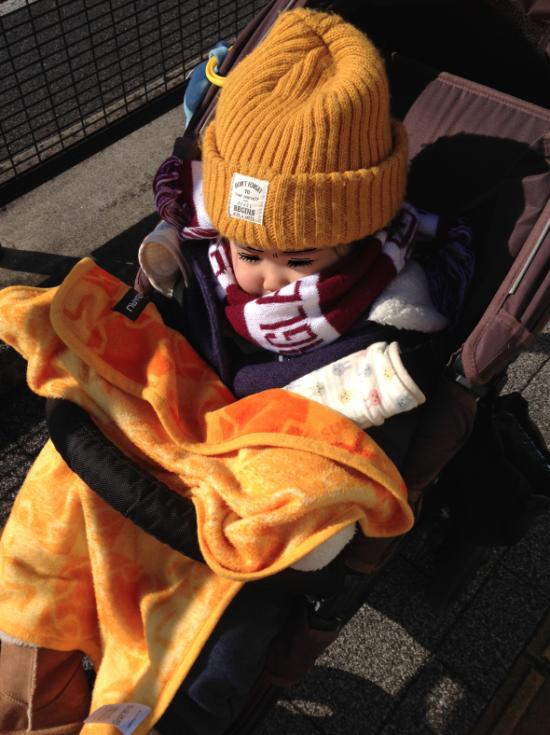 正月…ベビーカーに乗る2歳児