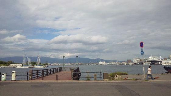 港から臨む函館の町